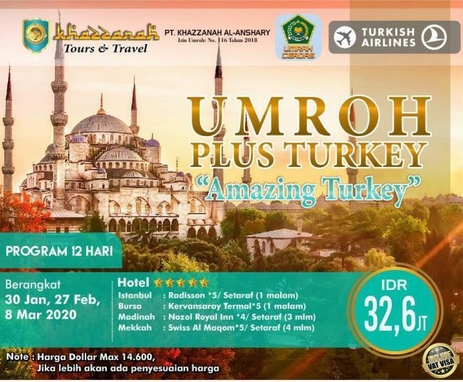 Biaya Umroh Plus Turki 2020
